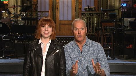 carly rae jepsen snl watch snl host michael keaton and carly rae jepsen go on