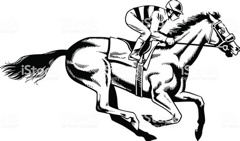 Purebred Horse Racing Black And White Drawing Stock Vector Art More Images Of 2015 476250496 Vector Image Black White Sketch