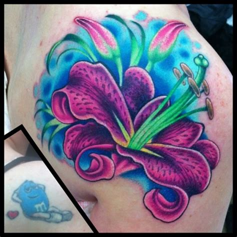 purple lily tattoo designs purple the best flower tattoos