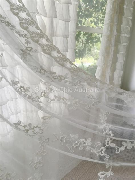 lace curtains singapore shabby french country curtain drape vintage ivory lace