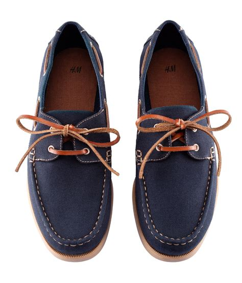 h m mens shoes h m deck shoes in blue for lyst