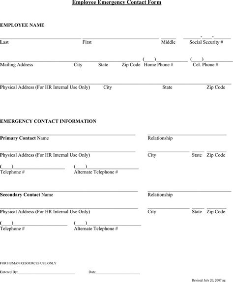 emergency contact list template for employees emergency contact form free premium templates
