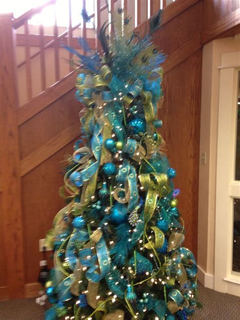 aqua and lime green peacock themed christmas tree