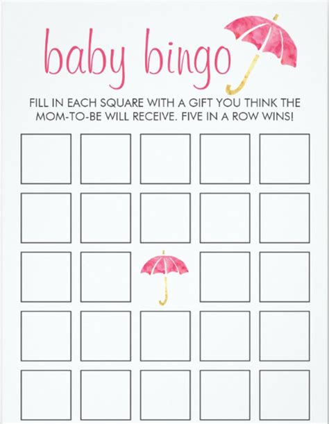 baby bingo card template free free card templates free premium templates