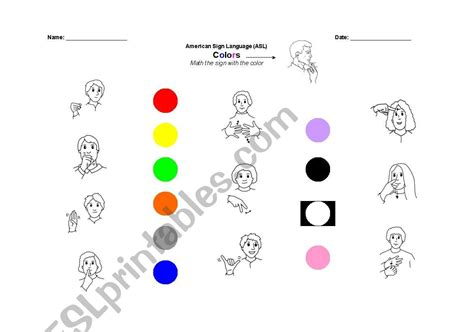 asl colors worksheets colors in asl