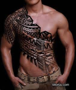 Arm and chest tribal tattoos egodesigns