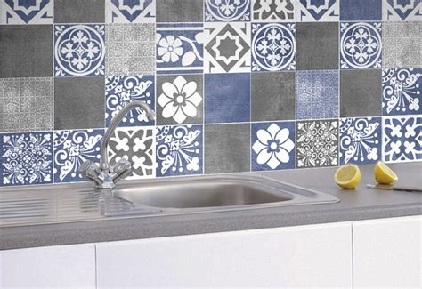 Kitchen Backsplash Tile Stickers by Tile Stickers Vogue Blue Tiles Decals Tiles For Kitchen