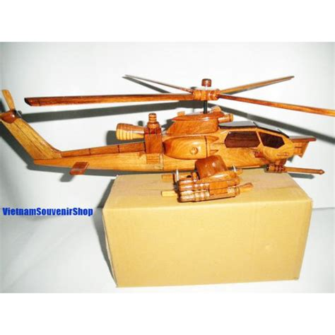 Handmade Helicopter Models - carved wood model apache ah 1 cobra helicopter
