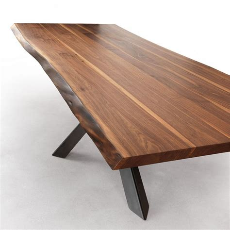 walnut dining table velocity solid walnut dining table with live edges metal