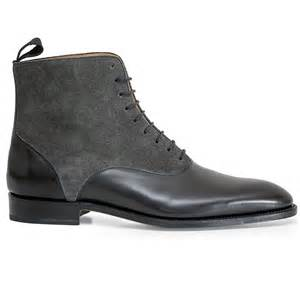 Handmade Shoes And Boots - handmade two tone ankle boot mens black leather and