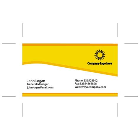 Yellow Business Card Illustrator Template Download At Vectorportal Business Card Template Illustrator Free