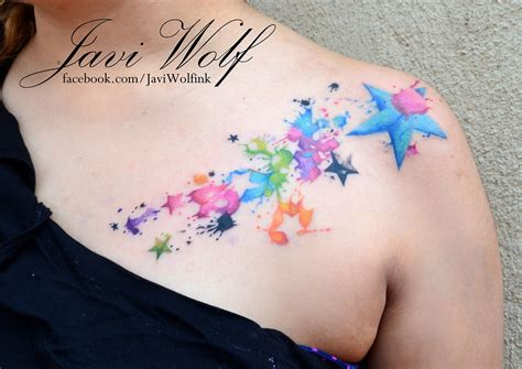watercolor star tattoo watercolor tattooed by javi wolf