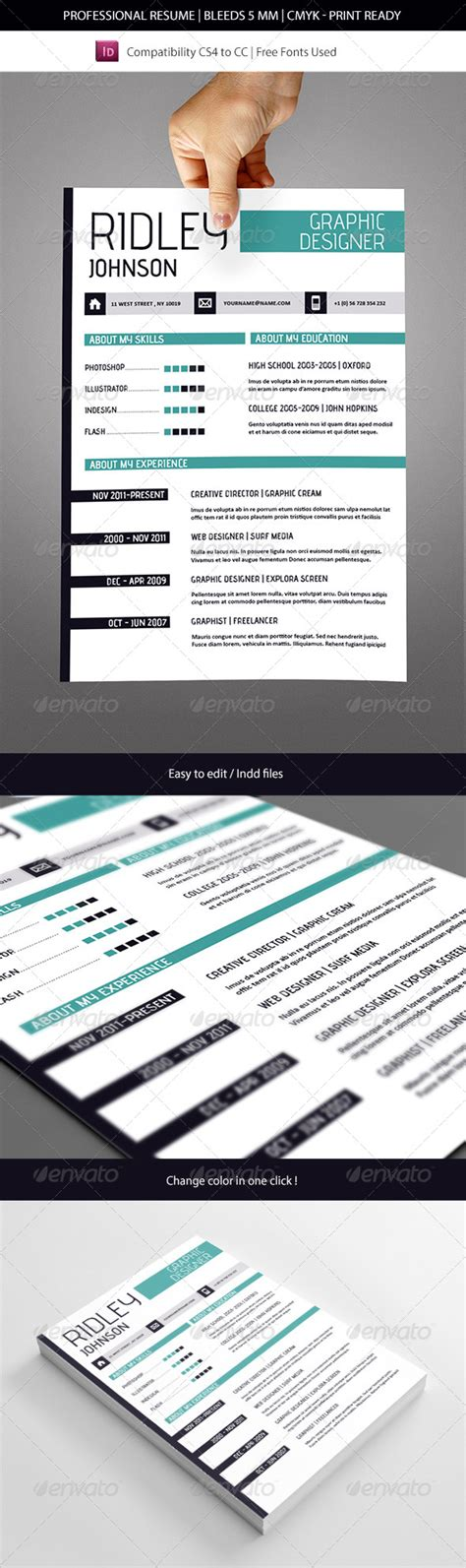 resume template indesign cs6 creative indesign resume template by franceschi rene graphicriver