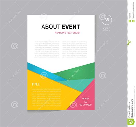 free templates for a5 flyers vector brochure flyer template design a5 size stock vector