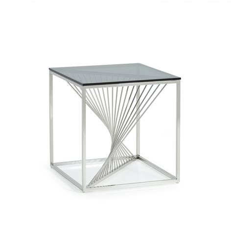 stainless steel end table modrest modern glass stainless steel end table