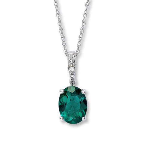 lab created emerald necklace with 10k white gold