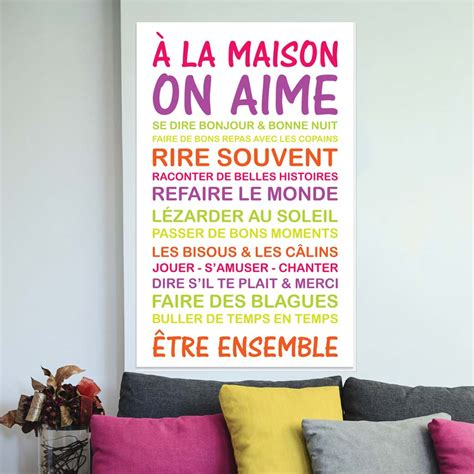 Poster Stickers sticker poster citation a la maison on aime stickers