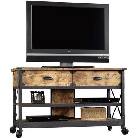 tv stand rustic table console media cabinet pine metal
