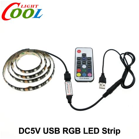 Led 5050 Rgb 1m With Usb Controller 5v usb led 5050 rgb tv background lighting 60leds m with 17key rf controller 50cm 1m