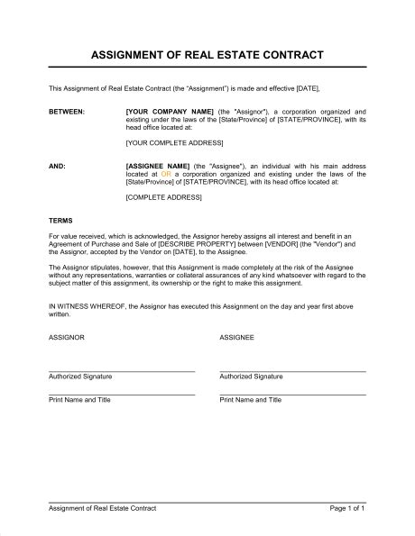 Assignment Of Real Estate Contract Template Sle Form Biztree Com Assignment Contract Template
