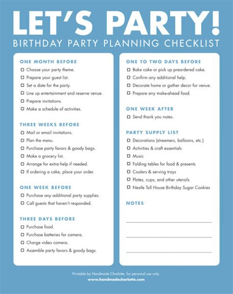 free printable party planning list make a birthday wish make a birthday wish