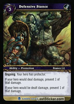 wow tcg chion deck card 139 defensive stance deck world of warcraft