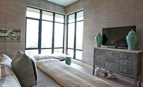 taupe grasscloth transitional bedroom cornerstone group architects