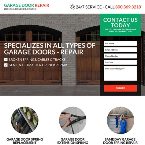 Appliance Garage Door Repair by Landing Page Design Templates For Marketing Leads Sales