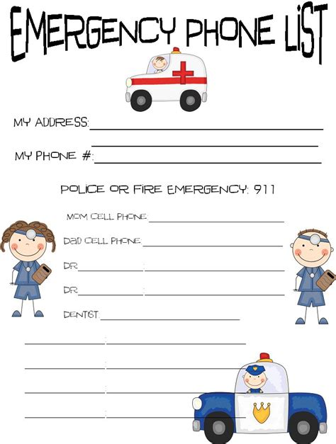 printable emergency numbers printable emergency contact sheet kids each child to