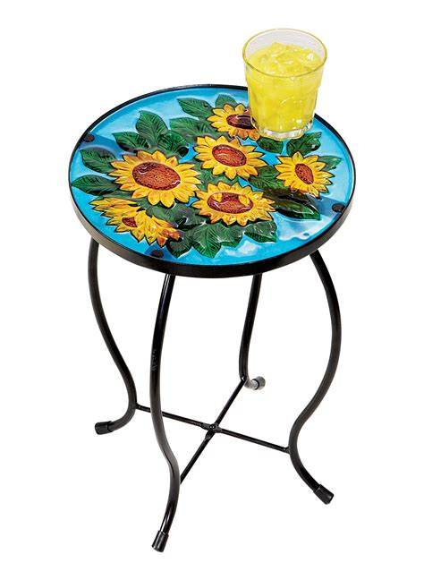 flower accent table sunflower side end table stand plant flower pot holder