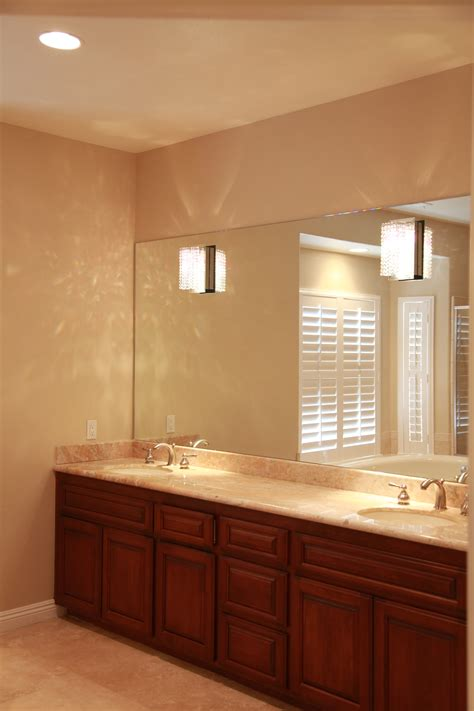 Large Mirrors For Bathroom Vanity Brown Wooden Bathroom Vanity White Sink And Marble Top On Ceramics Flooring