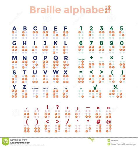 lettere braille alphabet ponctuation et nombres de braille illustration