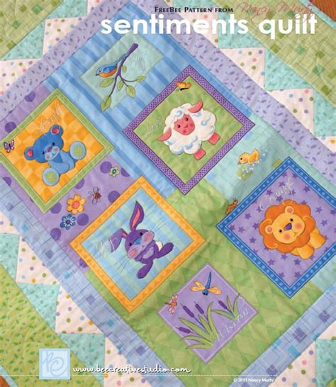 Free Baby Quilt Applique Patterns by Free Pattern Sentiments Quilt By Nancy Murty For Andover