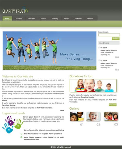 Charity Trust Template Free Website Templates Charity Web Templates