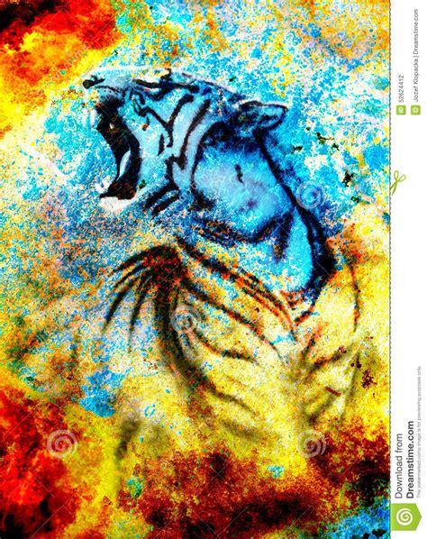imagenes abstractas con significado le collage abstrait de peinture de tigre sur la couleur