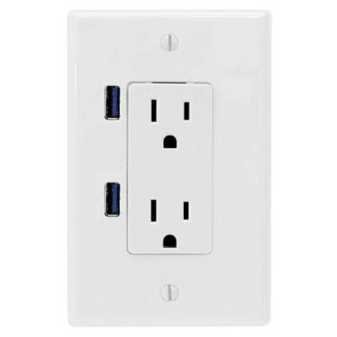 u socket 15 ac decor duplex wall outlet white with