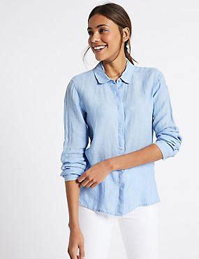 Baju Atasan Blouse Tunik Light Blue Casual L Import Original womens linen clothing linen suits tunics m s