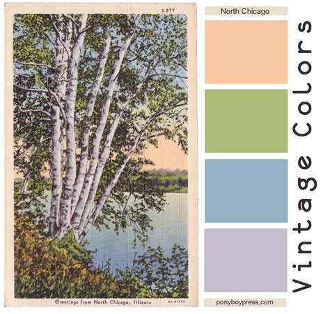 vintage color palette greetings from chicago ponyboy