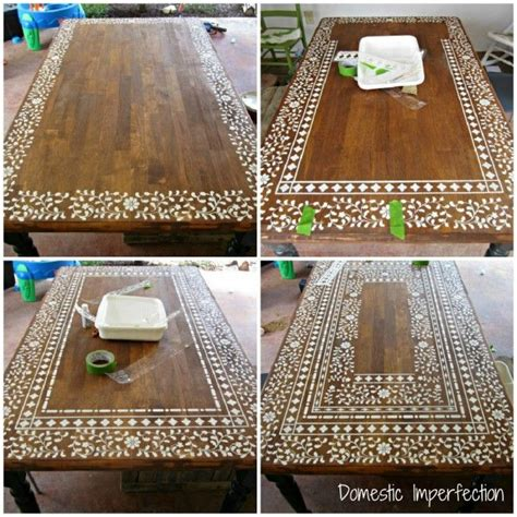 indian inlay stenciled table home decor craft tables