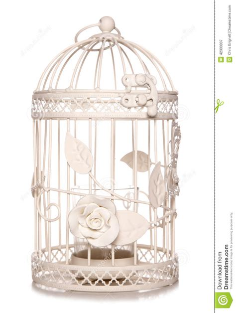 shabby chic bird cage candle holder stock photo image