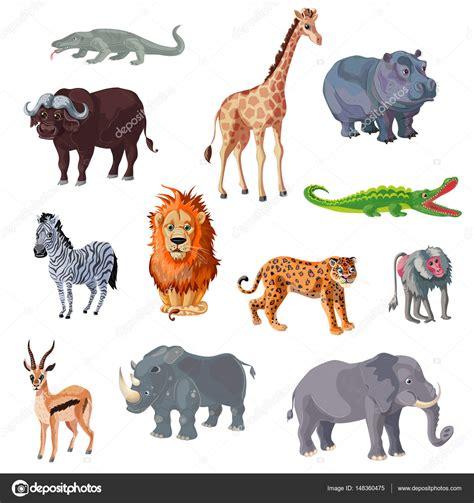 imagenes animales africanos conjunto de dibujos animados animales africanos vector