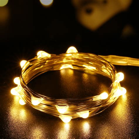 New 20 Led Warm White Micro Starry Copper Wire String Starry String Lights Lights On Copper Wire