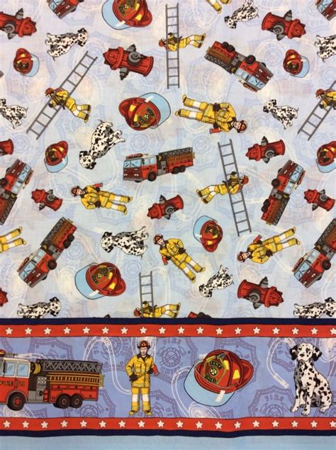 Fireman Quilt Fabric by Fireman Fighter Truck Dalmation Cotton Fabric