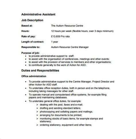 administrative assistant description template 9 free word pdf format free