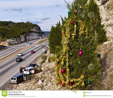 domain austin christmas tree guerilla christmas tree above austin highway editorial