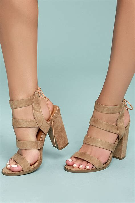 beige high heel sandals vegan suede sandals block heel sandals 33 00