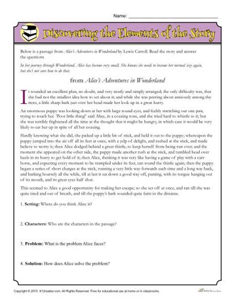 printable quiz on story elements identifying story elements worksheet worksheets