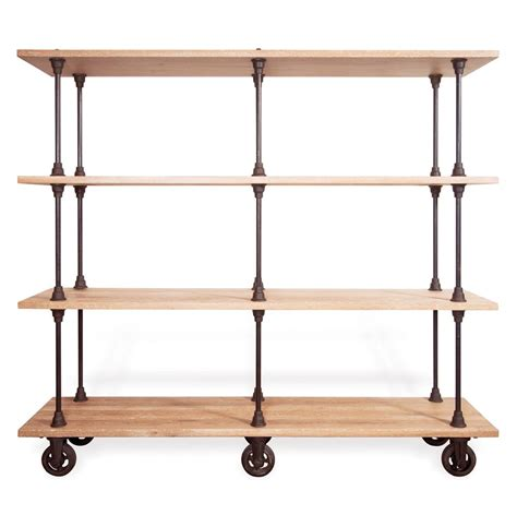 allenby industrial weathered oak 4 shelf rolling bookcase