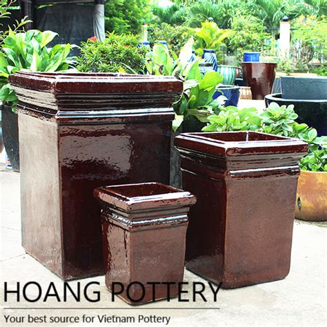 Planters Net by Square Brown Ceramic Glazed Flower Pots Outdoor Hpdb002 Hoang Pottery