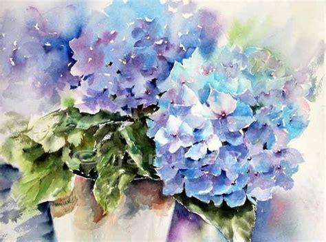 Aquarellbilder Vorlagen Modern Blaue Hortensie Aquarell Auf Arches 30x40cm Aquarell Blumen B 246
